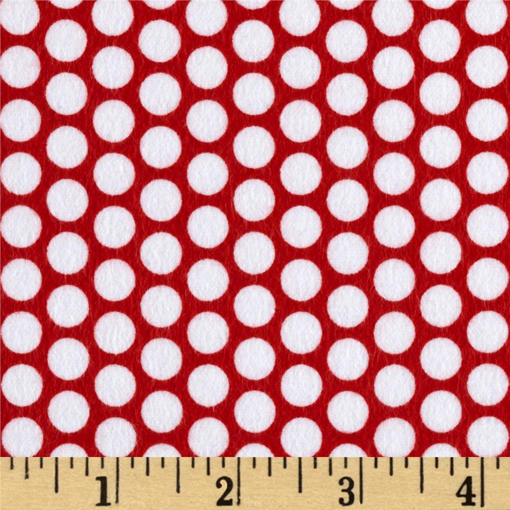 Riley Blake Flannel Honeycomb Dot Red
