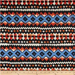 Stretch Ponte de Roma Knit Aztec Print Royal/Coral