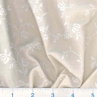 "108"" Quilt Backing Tone on Tone Floral White/Natural"