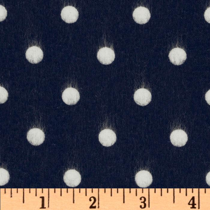 Cozy Cotton Flannel Polka Dot Navy