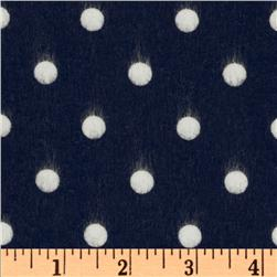 Cozy Cotton Flannel Polka Dot Navy Fabric