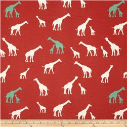 Birch Organic Serengeti Interlock Knit Giraffe Family Coral