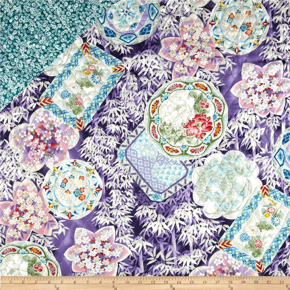 Cherry Blossoms Double Sided Quilted Asian Collage Bamboo Tan/Purple