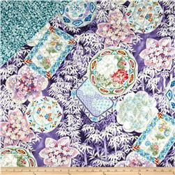 Cherry Blossoms Double Sided Quilted Asian Collage Bamboo