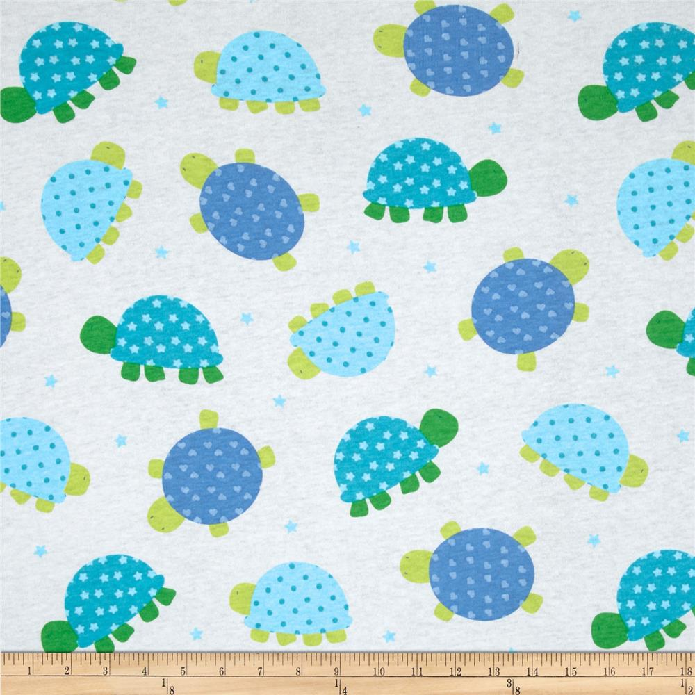 Cotton jersey knit turtles blue white discount designer for Knit fabric childrens prints