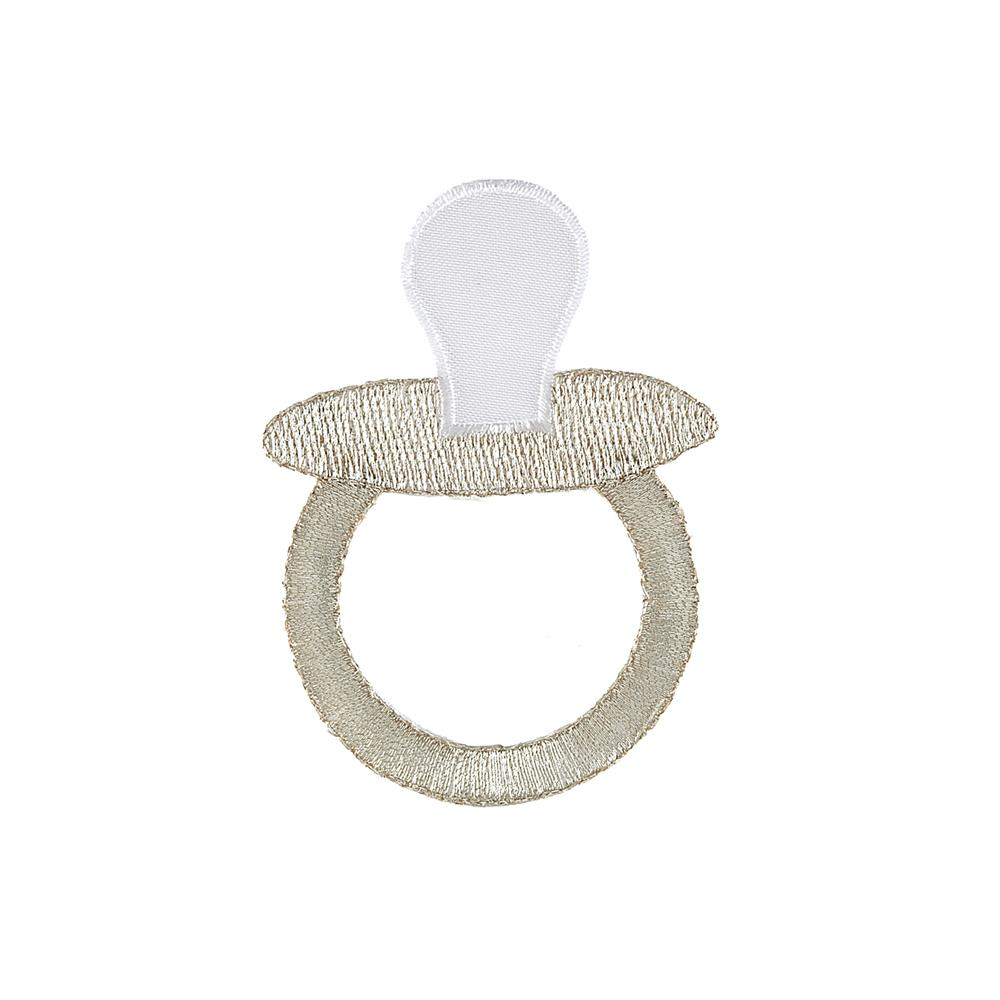 Pacifier Applique White/Metallic Gold