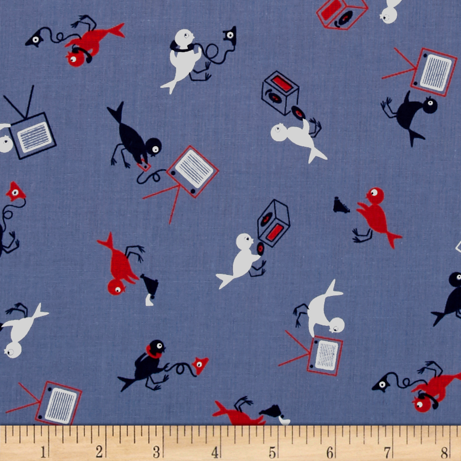 Image of Cotton + Steel Rotary Club Hello Yes This Is Bird Blue Fabric