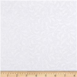 "108"" Quilt Backing Climbing Vine White on White"