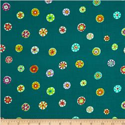 Micheal Miller Melodies Folk Floral Dot Teal