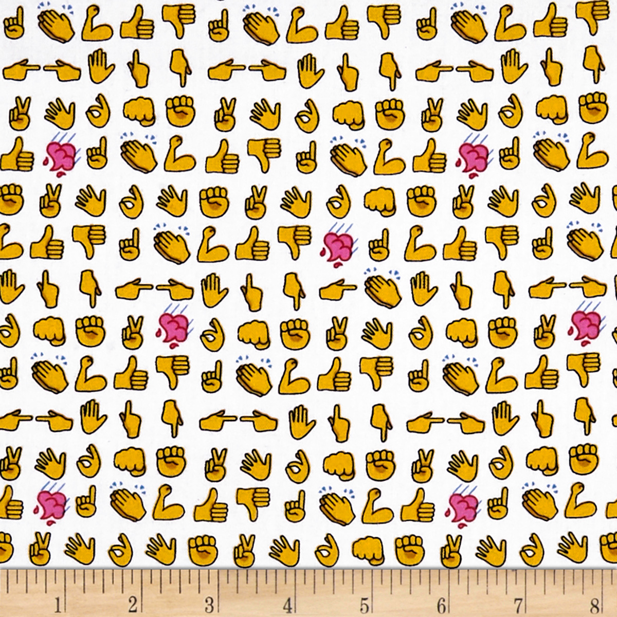 Designed by MY KT for Windham Fabrics this cotton print features the 21st century strong arm and hand emojis with a pink rain cloud that is perfect for quilting apparel and home decor accents. Colors include white yellow red pink blue and black.