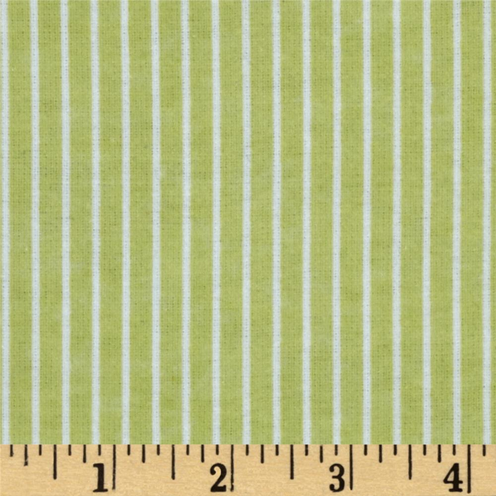Bear Hugs Flannel Stripe Green