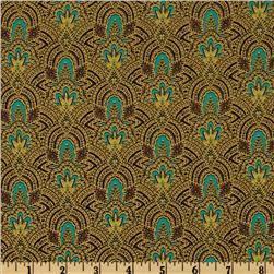 Punch Paisley Feathers Turquoise/Metallic Gold