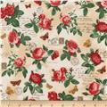 Kaufman Heirloom Diary Flowers Vintage