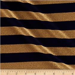Stretch Metallic Jersey Knit Stripes Navy/Gold
