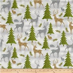 Holiday Meadow Animals Allover Gray