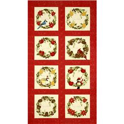 Moda Nature's Christmas Wreath Panel Berry