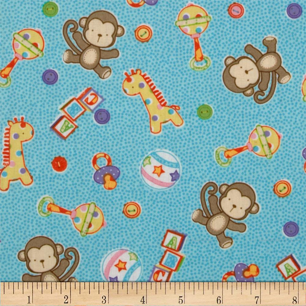 Baby talk monkeys giraffes toys blue discount for Nursery monkey fabric