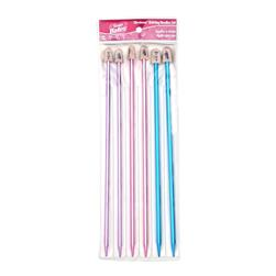 Bates 10'' Single Point Knitting Needles Silvalume Pack-6,7,8