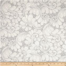"Kaufman 108"" Wide Quilt Back Drawn Wide Petal Swirl Steel"