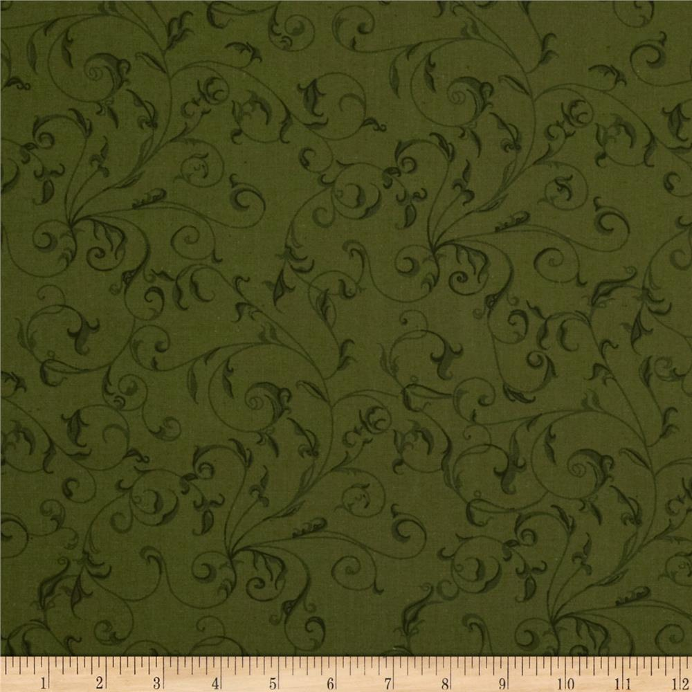 """110"""" Wide Quilt Backing Filigree Green"""