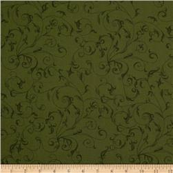 "110"" Wide Quilt Backing Filigree Olive Green"