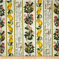 Timeless Treasures Lemon Floral Stripe Cream