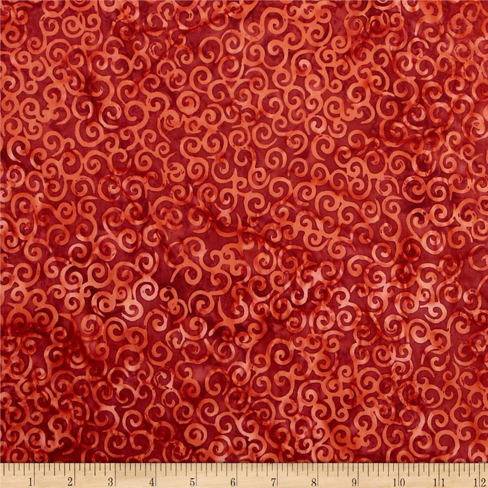 Timeless Treasures Tonga Batiks Scroll Red