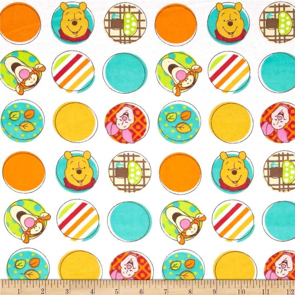 Disney pooh nursery flannel character dots white for Nursery fabric sale