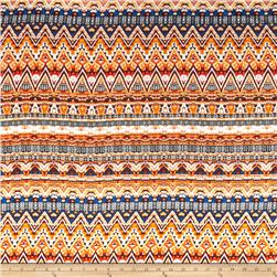 Aztec Rayon Challis Orange/Blue/Yellow