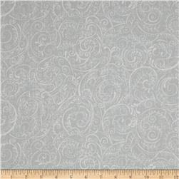 Charleston 108'' Wide Quilt Backing Swirly Vine Grey/White