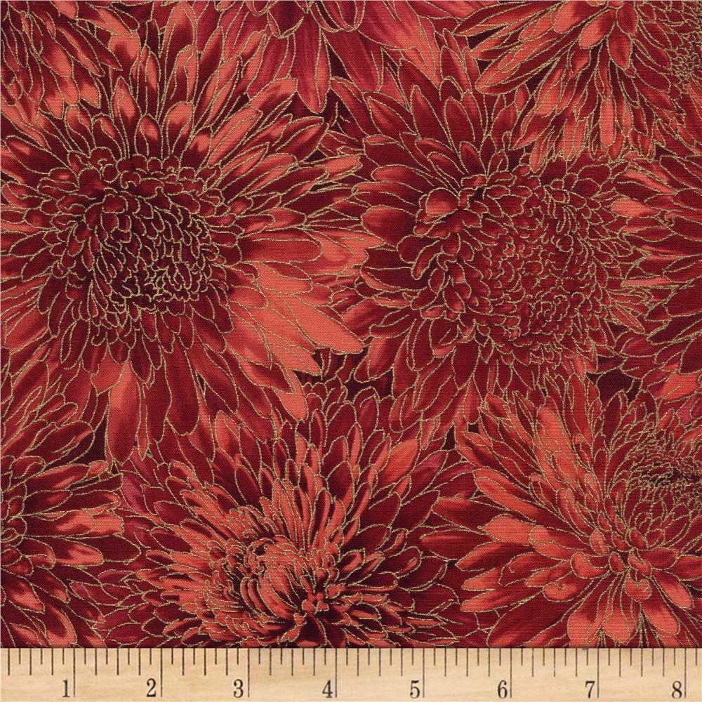 Timeless Treasures Golden Harvest Metallic Mumms Cranberry