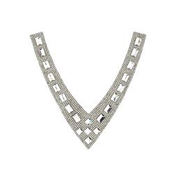 "6.5"" x 3.5""  Medium Collar Iron-on Rhinestone Applique Crystal"