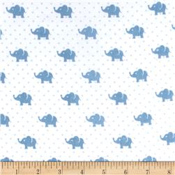 Kaufman Little Prints Double Gauze Elephant Blue