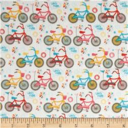 Riley Blake Girl Crazy Flannel Bikes Cream Fabric