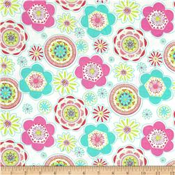 Popsicle II Large Floral Medallions White