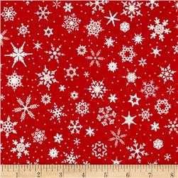 White Christmas Snowflake Red