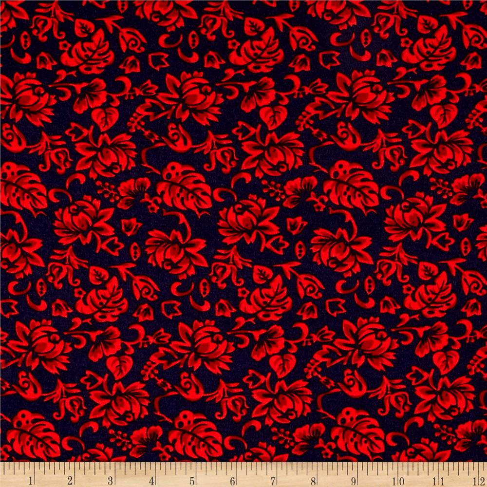 Fashion Jersey Knit Florals Red