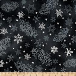 Kaufman Holiday Flourish Metallics Snowflake & Sprigs Charcoal