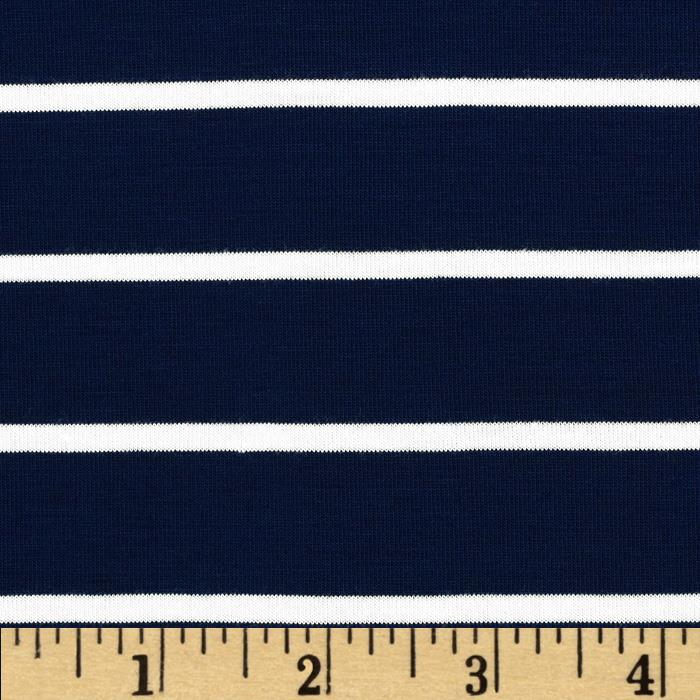 Telio Stretch Bamboo Rayon Jersey Knit Mariner Stripe Midnight Blue Fabric By The Yard