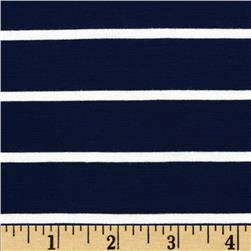 Stretch Bamboo Rayon Jersey Knit Mariner Stripe Midnight Blue