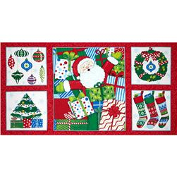 "Moda Ho! Ho! Ho! 36"" Panel Santa Suit Red"