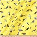 Polyester Prints Crepe Georgette Birds On Yellow