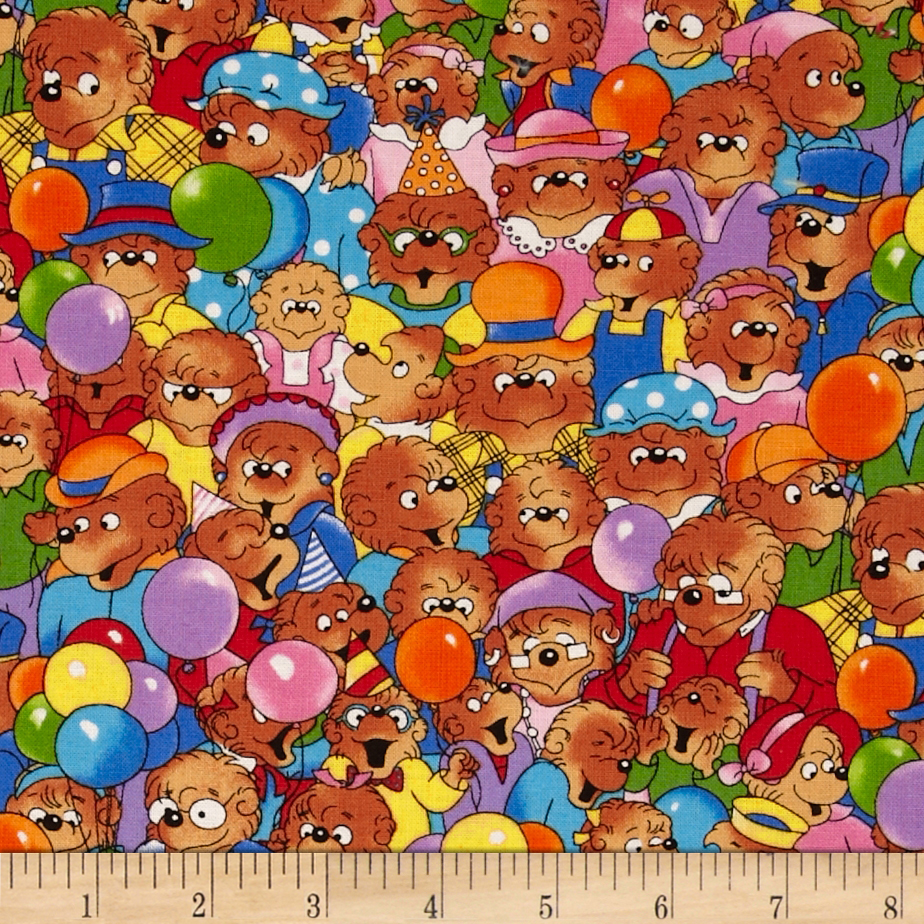 Moda Beary Happy Birthday Party Bears Multi Fabric