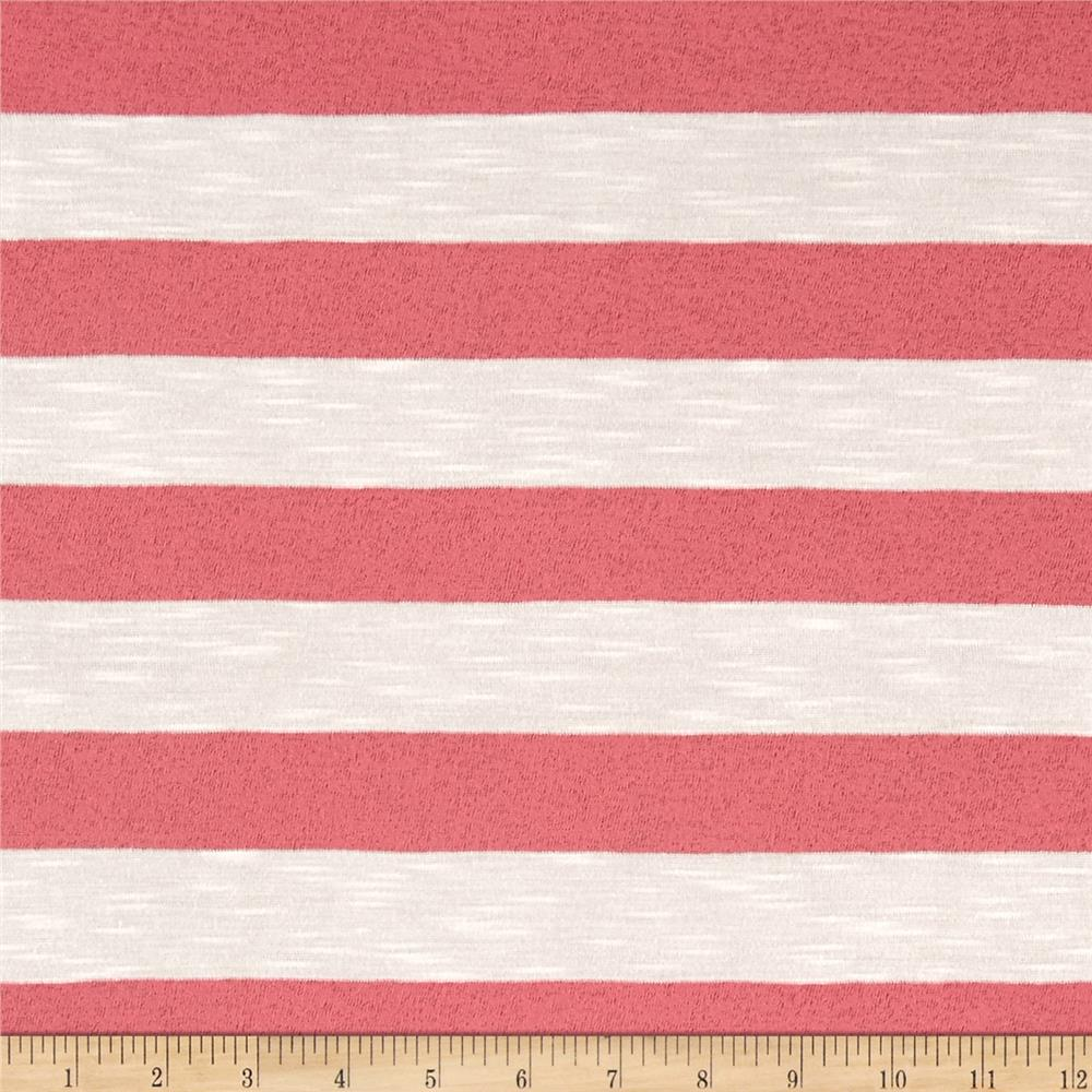 Jersey Sheer Knit Coral Stripe on White Fabric
