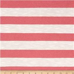 Jersey Sheer Knit Coral Stripe on White
