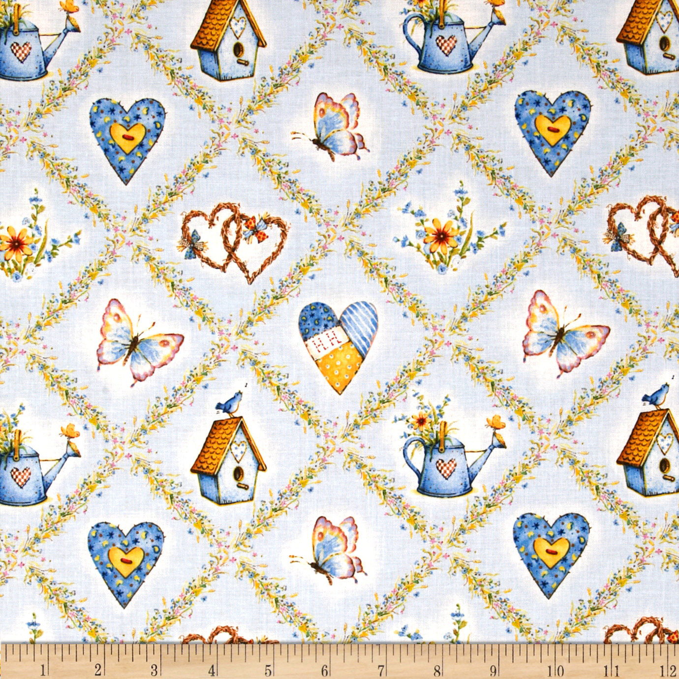 Holly Hobbie Icons In Diamonds Blue Fabric