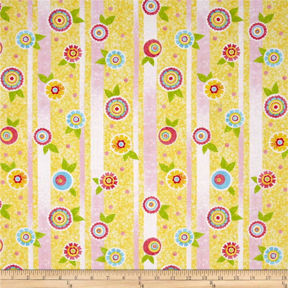The Garden Club Flower Stripe Yellow/Turquoise
