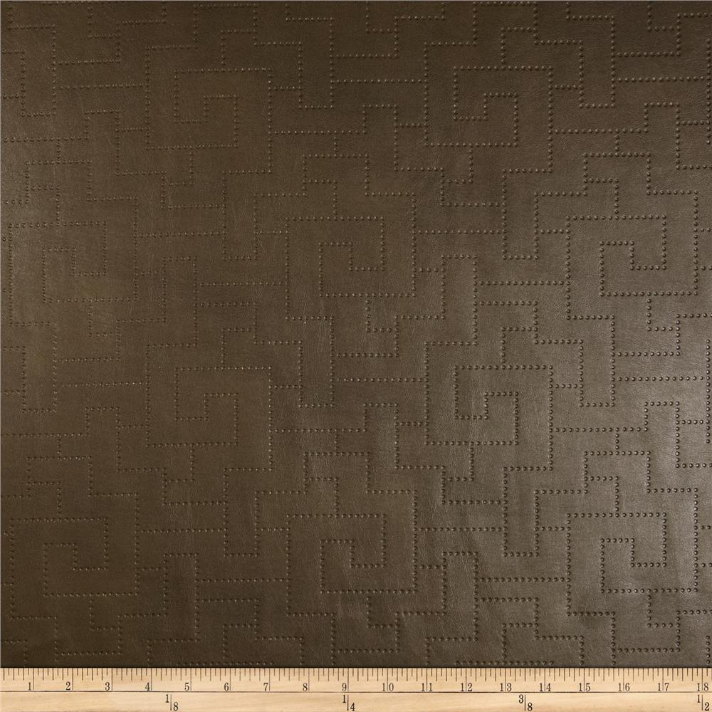 Richloom Faux Leather Greek Key Koronis Slate Brown