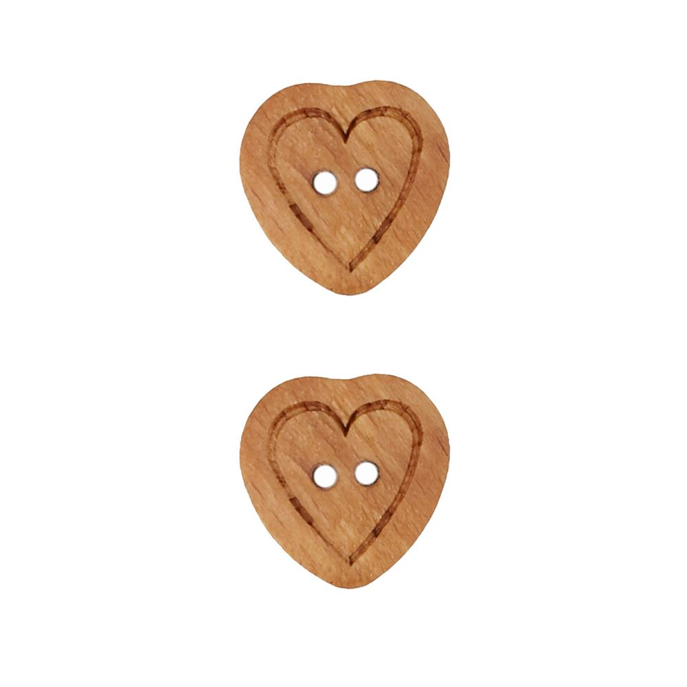 Dill Wooden Button 3/4'' Etched Heart Brown