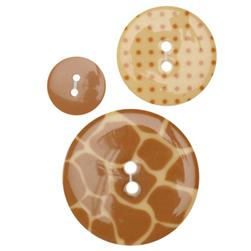 Fashion Buttons 5/8'', 1.00'', 1 3/8'' Coordinates Jungle Cocoa